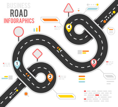 Info business plan navigation loop bend road way map infographic roadmap design vector illustration