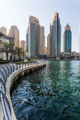 Dubai, UAE - October, 2018. Modetn city of the luxury center of Dubai, United Arab Emirates