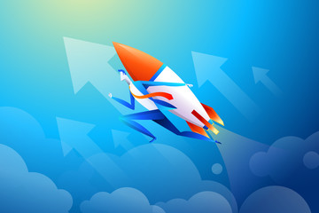 Businessman flying on rocket, graph that shows increase in sales, vector illustration in flat design