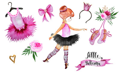 Watercolor handpainted collection Little ballerina with ballerinas, Pointe shoes, ballet accessories, flowers, feathers, frames, wreaths, cards, lettering, heart of feathers and more