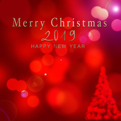 Abstract bokeh texture card - merry christmas and happy new tear 2019
