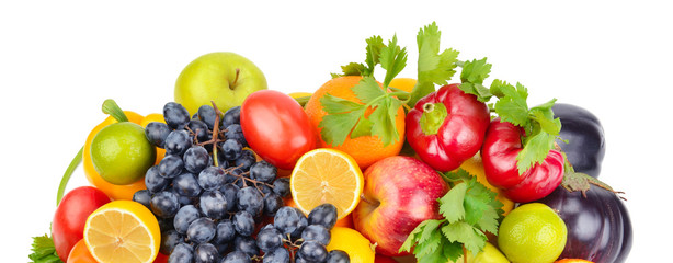 Fruits and vegetables isolated on white background. Wide photo .