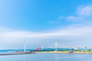 北海道 室蘭、祝津臨海公園から望む室蘭港の風景