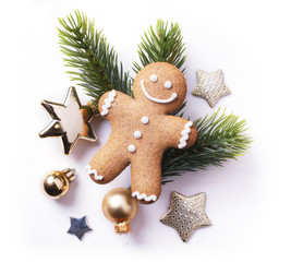 Christmas element on white background; top view;