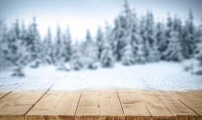 desk and snow decoration