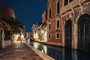 Venice, Italy. colorful buildings on the old night street