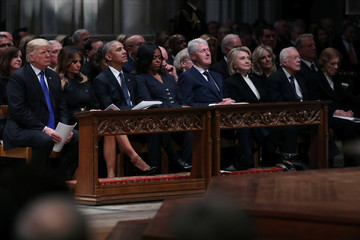 President Trump sits with former Presidents Obama, Clinton and Carter at state funeral for former U.S. President George H.W. Bush at Washington National Cathedral