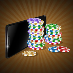 Mobile phone and a set of colored chips for online casinos