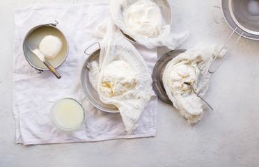 Farm food raw milk cheese muslin cloth ricotta cheese yogurt kefir soft cheese