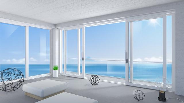 White wide sliding door in the room