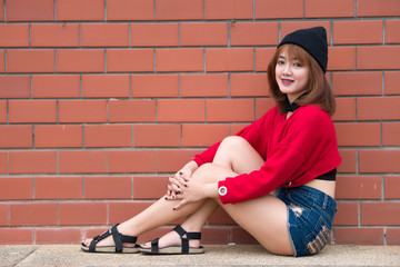 Asian hipsters girl posing for take a photo,lifestyle of modern woman,Thai people in hippie style