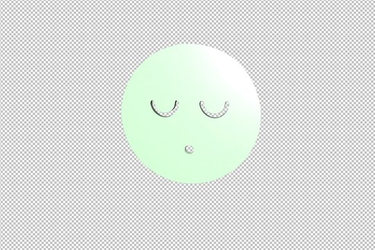 3D illustration of Speechless, light green color with transparent background.