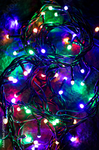 Colorful Christmas Lights Background.Christmas Background With Colorful Lights Glowing Colorful