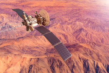 3D rendering of a conceptual image of a spacecraft exploring Mars