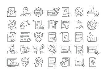 Vector graphic set. 40x40 pixels. Editable stroke size. Icons in flat, outline, thin and linear design. Line icons. Inspector, stamp check list. Simple isolated icons. Sign, symbol, element.