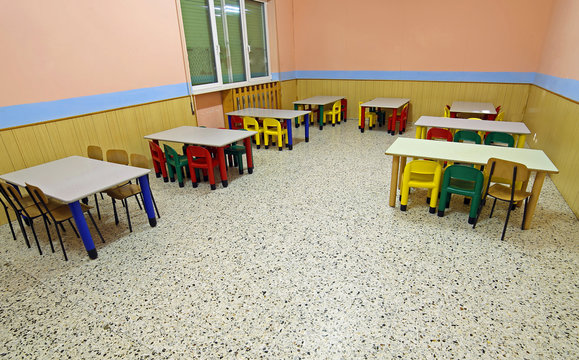 tables and chairs in the school
