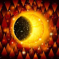 Fantastic illustration. Crescent. Eclipse. Fantastic creation. Absolut. God.