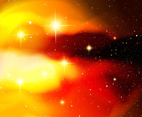 Vector illustration. Shining stars. Fantasy. Cosmos; Outdoor space. Orange-red-yellow galaxy and constellations.