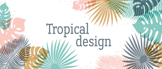 Horizontal Tropical header in pastel colors. Summer tropical design with exotic palm leaves. Monstera, palm, banana leaves. Exotic botanical design. Summer jungle web banner. Vector illustration