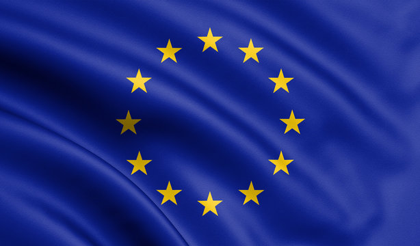 Waving European Union flag , EU flag in 3D Illustration.