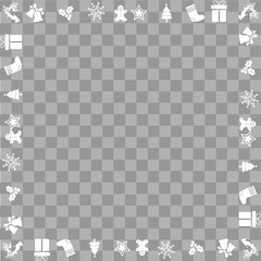 Christmas square frame with ornaments. Vector.