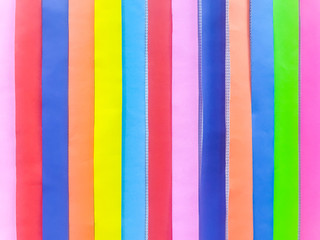 Colored paper strips decorate on board