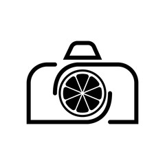 Vector Camera Lemon logo design template and support icon modern. Black color.