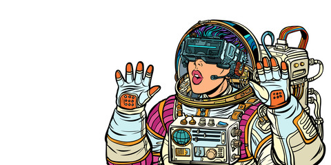 Surprised woman astronaut in virtual reality glasses. Girls 80s