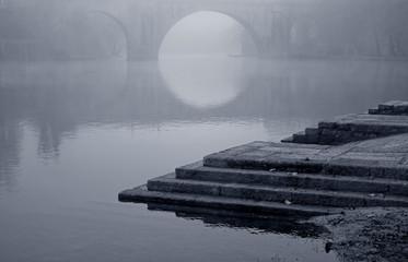Romantic misty bridge