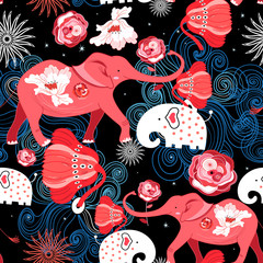 Seamless bright festive pattern of red elephants with roses