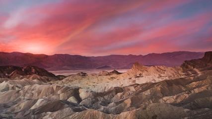 Desert Sunrise in Death Valley National Park as seen from Zabriskie Point