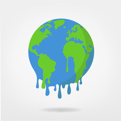 global warming / climate change,  world illustration -  earth vector