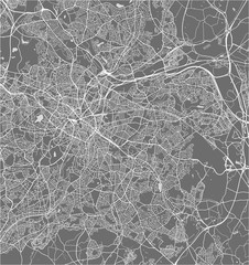 Map of the city of Birmingham, Wolverhampton, English Midlands, United Kingdom, England