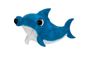 Cute cartoon baby shark. 3d rendering