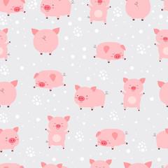 Seamless pattern cheerful cute little cute pigs in snow. Cartoon animal vector illustration. - 237436287