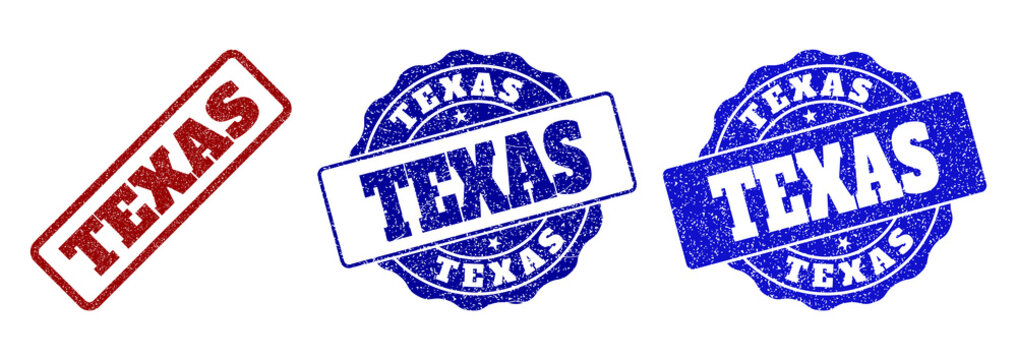 TEXAS scratched stamp seals in red and blue colors. Vector TEXAS labels with grainy style. Graphic elements are rounded rectangles, rosettes, circles and text labels.
