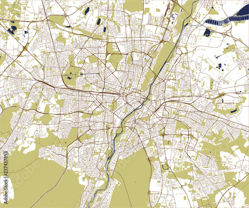 map of the city of Munich, Bavaria, Germany\