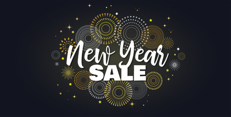 Wall Mural - Sale banner background for New Year shopping sale. Happy New year sale lettering on sky full of gold fireworks. Design with for web online store or shop promo offer