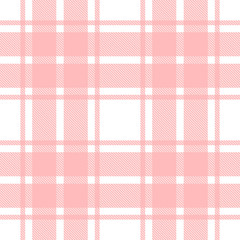 Seamless vector plaid, tartan, check pattern pink and white. Design for wallpaper, fabric, textile, wrapping. Simple background
