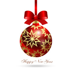 Happy New Year! Realistic glass Christmas ball with a pattern of gold stars and a red silk holiday bow.