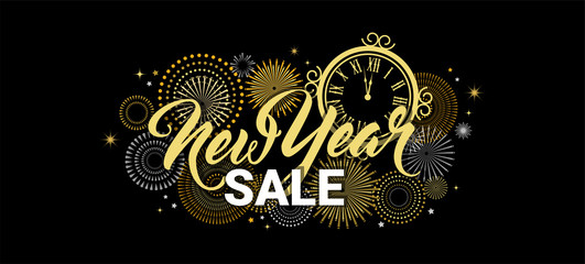 Wall Mural - Happy New Year sale banner. vector illustration with Fireworks black Background. Vector Holiday Design for Premium Greeting Card, Party Invitation, web online store or shop promo offer