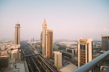 DUBAI, UAE - October, 2018. Dubai skyline in sunset time, United Arab Emirates