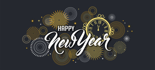Wall Mural - Happy New Year Background with golden fireworks. Gold and black card and banner, festive invitation, calendar poster or promo banner.