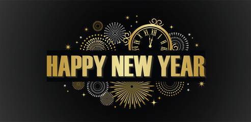 Wall Mural - Happy New Year banner with golden fireworks. Gold and black card and banner, festive invitation, calendar poster or promo banner.