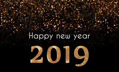 2019 Happy New Year card with golden, sparkling glitter falling on 2019 numbers. white text on black background with  bokeh glittery lights. Glam, shiny New Year's eve illustration