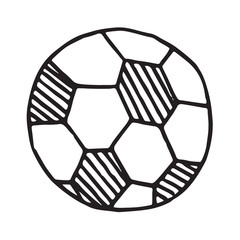 Handdrawn football ball doodle icon, isolated on white background, vector illustration