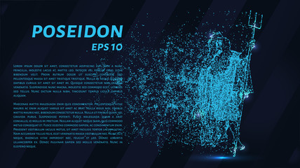 Poseidon. A grid of blue stars in the night sky. Points of light create the form of Poseidon.