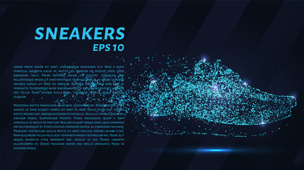 Sneakers. A grid of blue stars in the night sky. Points of light create the form of shoes. Shoes, fashion, sport and other concept illustration or background.