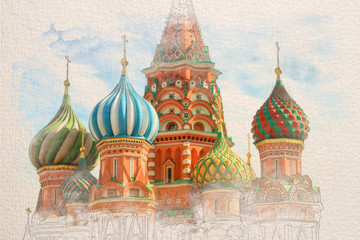 Fototapete - Stylized by watercolor sketch painting of St. Basil Cathedral, Red Square, Moscow, on a textured paper. Retro style postcard.