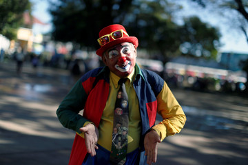 Salvadorean clown Frijolito poses for a picture during Salvadoran Clown Day celebrations in Santa Tecla